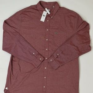 New Lacoste Big & Tall 3XLT Red   Button Down Cott
